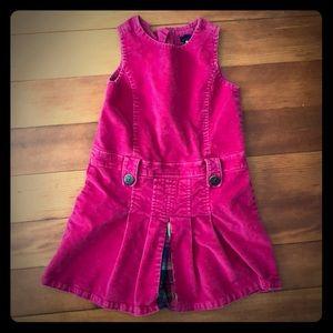 Pink velvet Baby Gap dress with plaid peekaboo